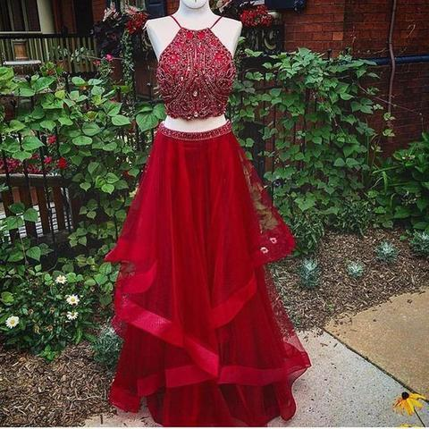 Two Pieces Halter Red Organza Rhinestone Beaded Long Prom Dresses