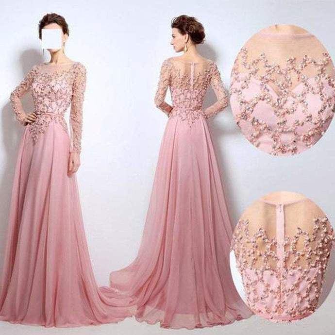 Scoop Neckline See Through Beaded Long Sleeve Pink Chiffon Long Prom Bridesmaid