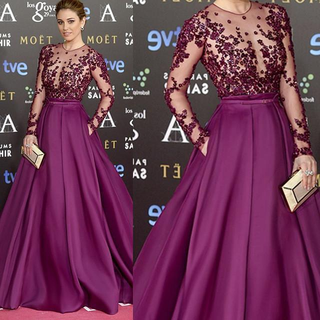 Red Carpet Inspired Plum See Through Beaded Sexy Long Sleeve A-line Satin Prom