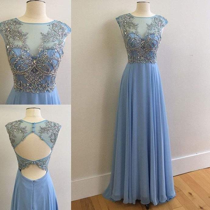 Elegant Round Neck Rhinestone Top Sheer Long Chiffon Prom Dresses