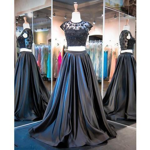 Two Pieces Black Beaded Satin Cap Sleeve Long A-line Prom Dresses