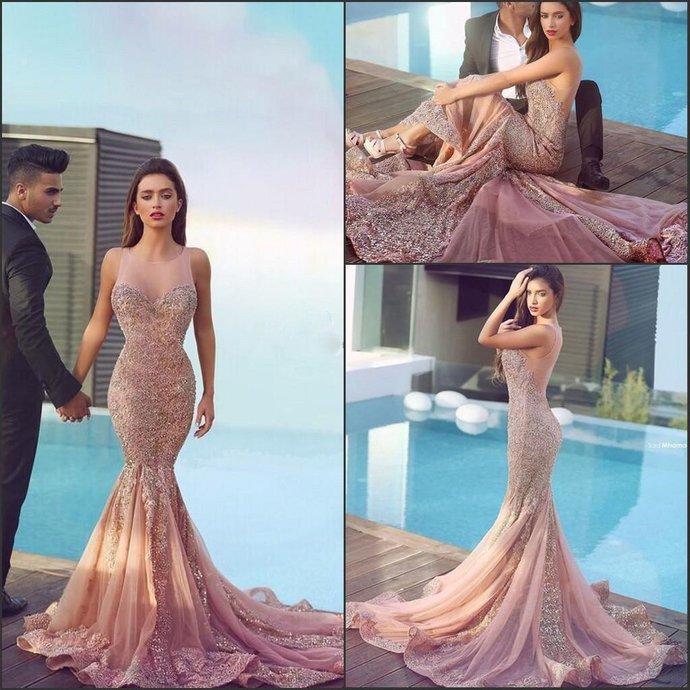 Nude Tulle Lace Beaded Luxury Long Mermaid Prom Dresses
