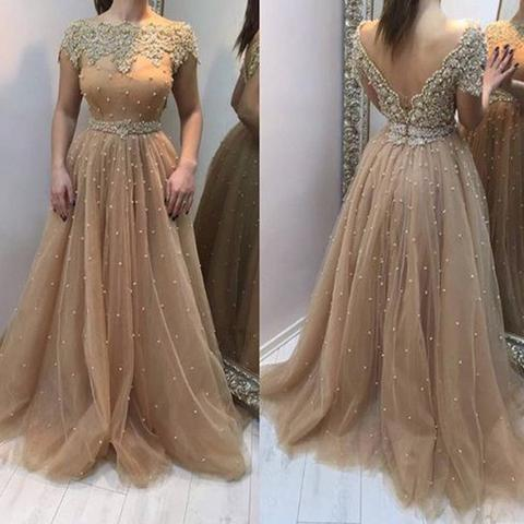 Scoop Neckline Long A-line V-back Lace Beaded Tulle Prom Dresses