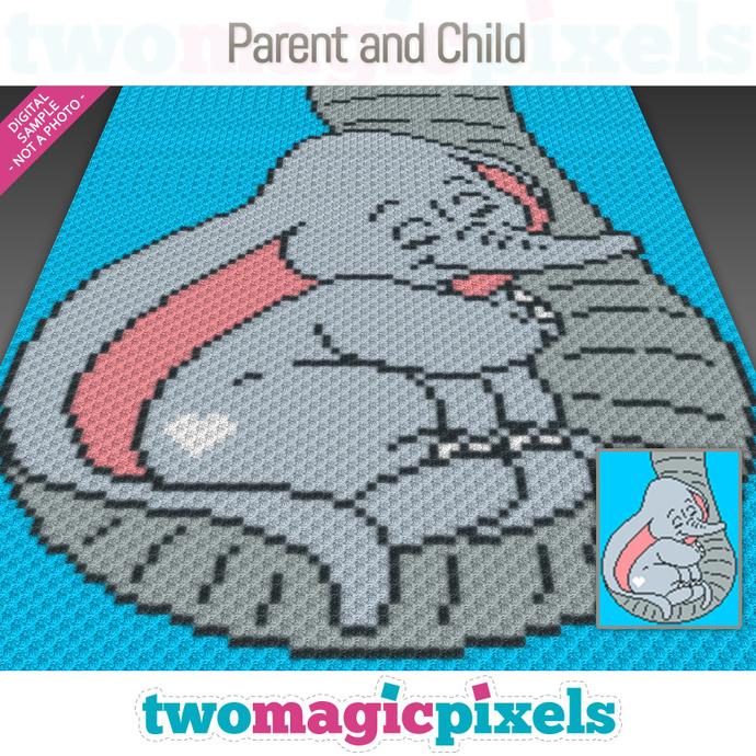 Parent and Child crochet graph (C2C, Mini C2C, SC, HDC, DC, TSS), cross stitch,
