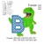 T-rex dinosaur applique birthday ,T-rex dinosaur biting B embroidery design,