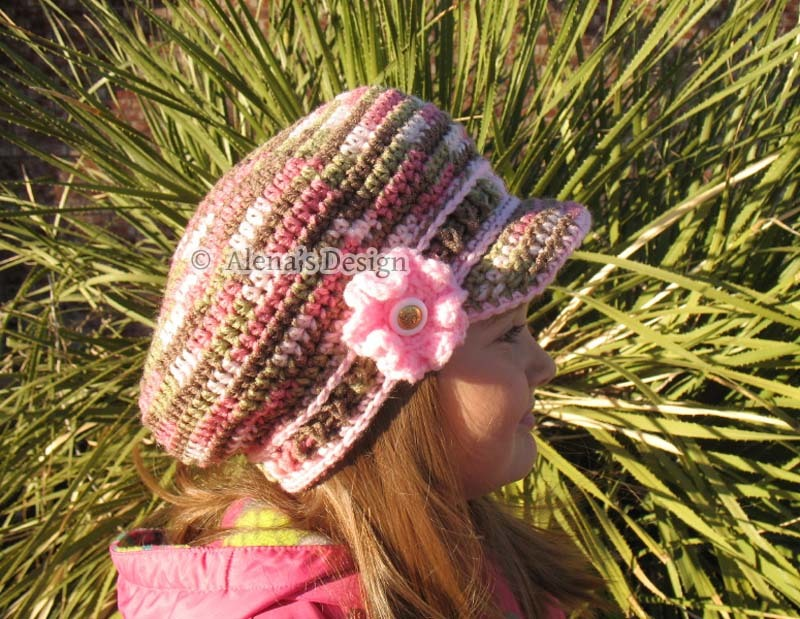 da694cc8ea3 Crochet Pattern 072 Pink CAMO Newsboy Hat by AlenasDesign on Zibbet