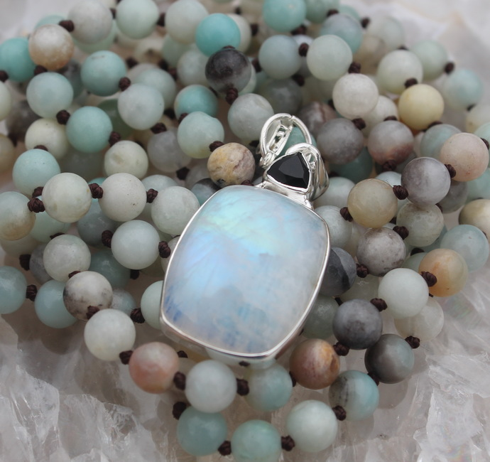 Long Double wrap Amazonite Beaded Necklace with Glowing Moonstone Pendant
