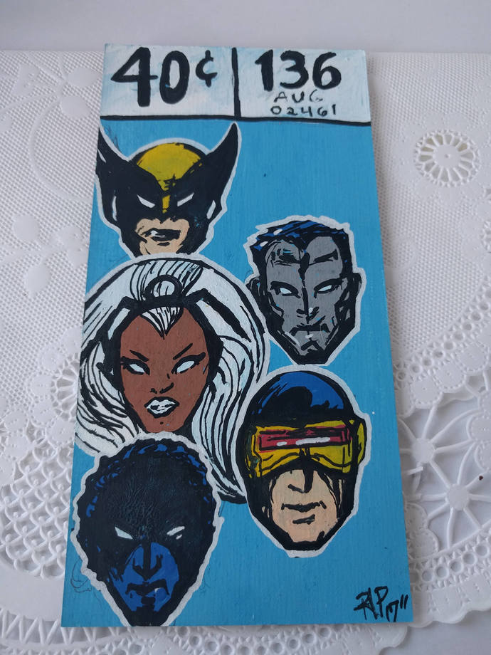 Set of Red and Blue Marvel Price Paintings