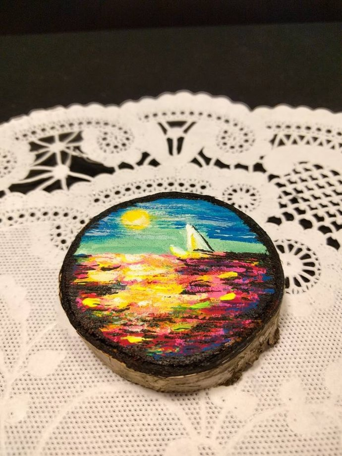 Tiny Wood Coin Paintings