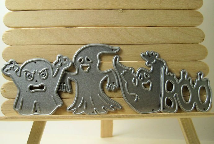 4pc Halloween Boo and Ghost Cutting Dies Set