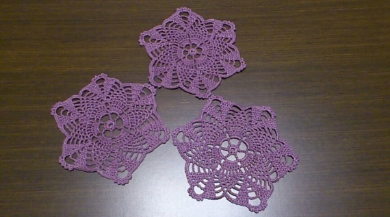 Christmas purple doily, Set of 3 purple doilies, Crocheted doilies star, mini