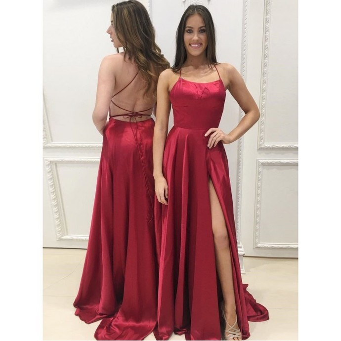 A-Line Red Prom Dresses Satin Fashion Dress Cheap 2019 Evening Dress Long Party