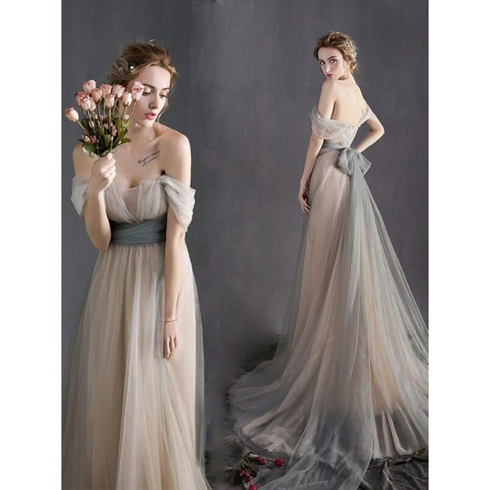 Simple Prom Dresses Tulle Graduation Dress Long Evening Dress Formal Gowns Cheap