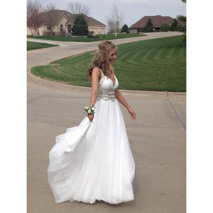 Sexy A-Line Prom Dresses White Graduation Dress Long Evening Dress V-Neck Formal