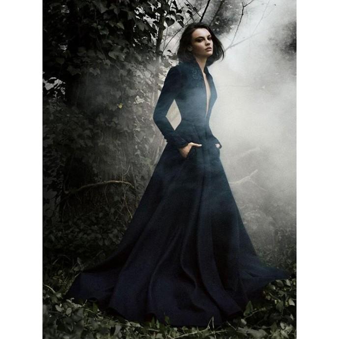 V-Neck A-Line Prom Dresses Navy Blue Long Evening Dress Vintage Formal Gowns