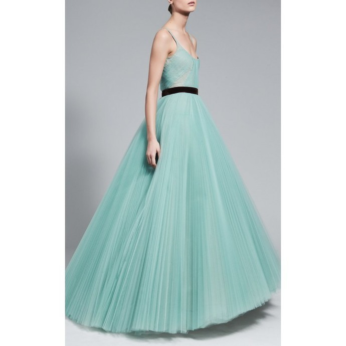 Unique Prom Dresses Tulle Long Evening Dress A-Line Formal Gowns Cheap A2587