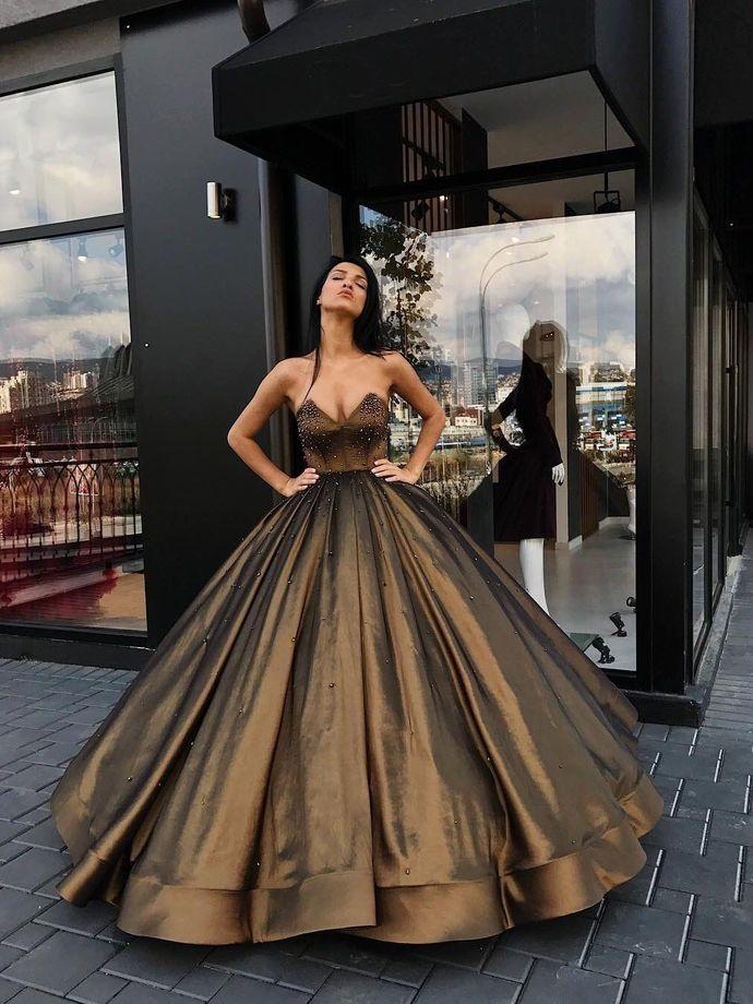 Sweetheart Ball Gown Beaded Princess Long Prom Dresses Cheap Long Evening Dress