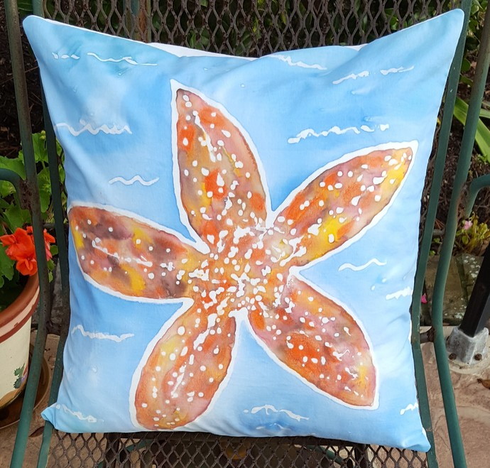 Decorative Pillow Cover, Handmade and Hand Painted, Starfish Design, Fits a Size