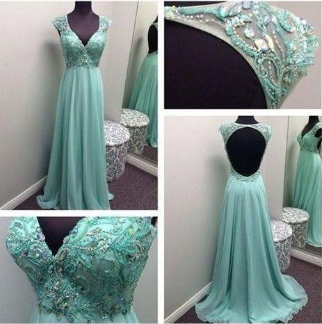 Elegant Beaded Green Rhinestone Open Back Long A-line Chiffon Prom Dresses