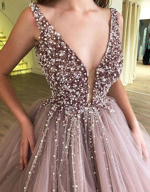 Tulle Rhinestone Prom Dresses, Beaded Prom Dresses, Ball Gown, Cheap Prom