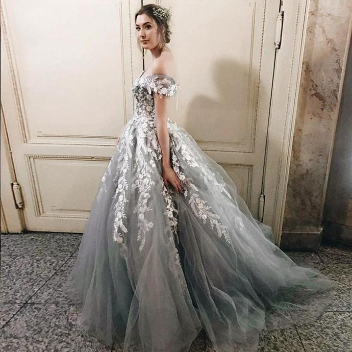 Grey Tulle Lace Prom Dresses, Off Shoulder A-line Prom Dresses, Lovely Prom