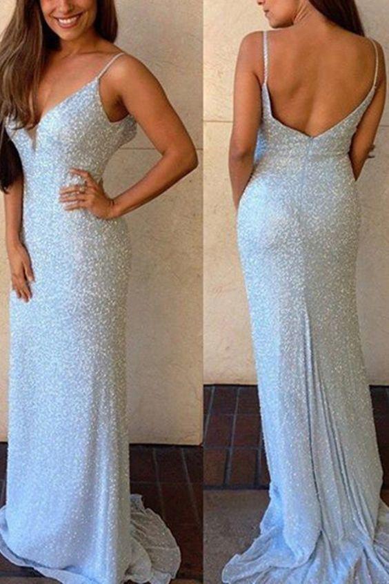 c2691f2655 Sheath Spaghetti Straps Sweep Train Backless Sky Blue Sequined Prom Dress