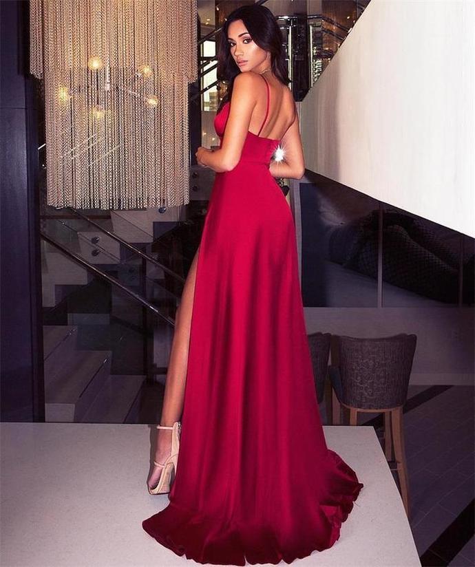 Simple Design Red Prom Dresses, Sexy Side Slit Prom Dresses, Popular Prom