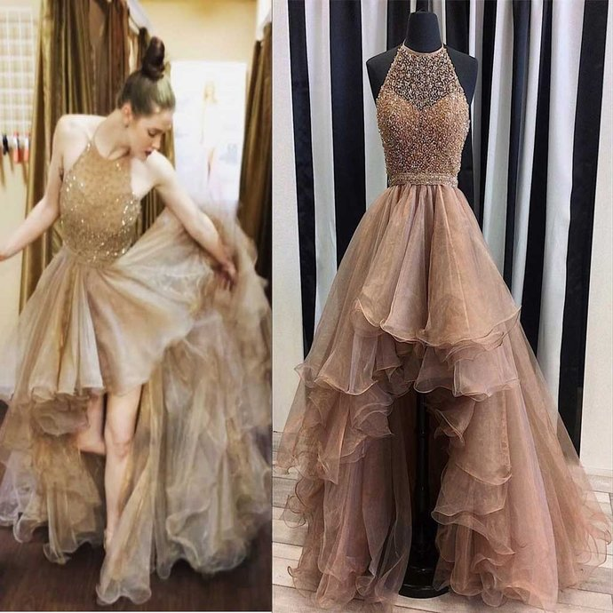 Halter Top Illusion Rhinestone Beaded Hi-low Tulle Prom Dresses, Most Popular