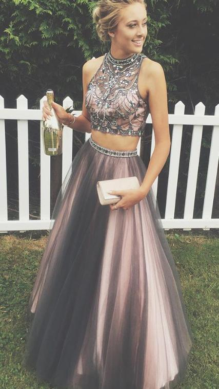 2 pieces Rhinestone Beaded Tulle Prom Dresses, Popular Affordable Long Prom