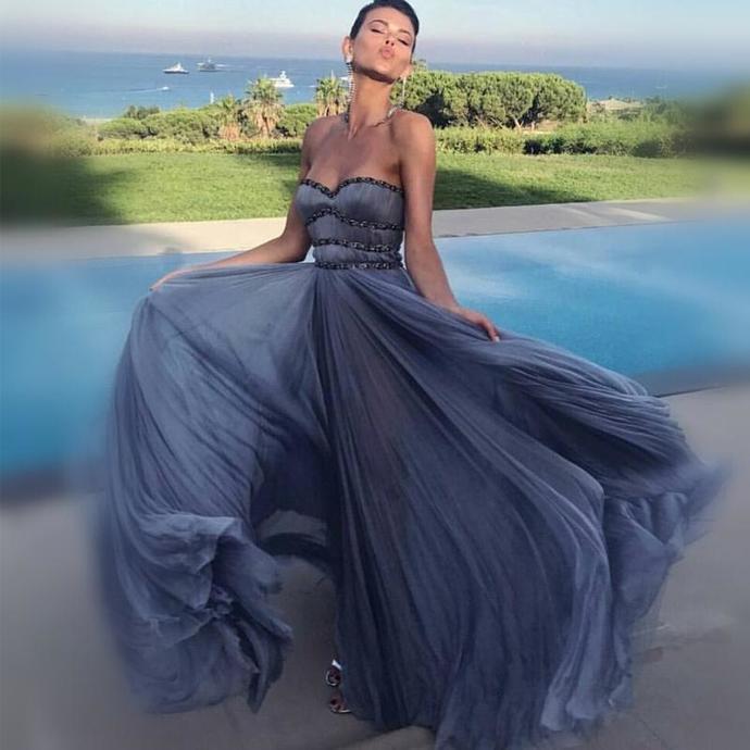 Sweetheart Grey Rhinestone Chiffon A-line Prom Dresses, Cheap Evening Dresses,