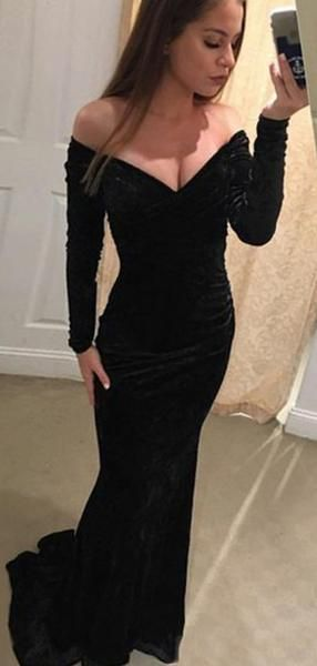 e7f4a8bbc1ff Off Shoulder Long Sleeves Mermaid Black Velvet Prom by Hiprom on