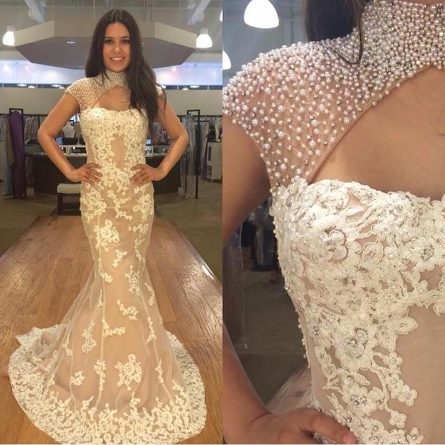 High Neck Pearl Beaded Ivory Lace Mermaid Prom Dresses, Elegant Prom Dresses