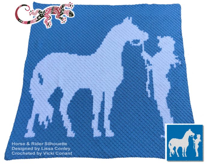 Horse and Rider Silhouette Graphghan Pattern LG Adult Throw for C2C