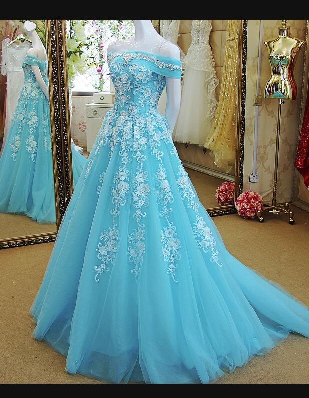 3104e0c5f70 Blue Off Shoulder Sweet 16 Gown