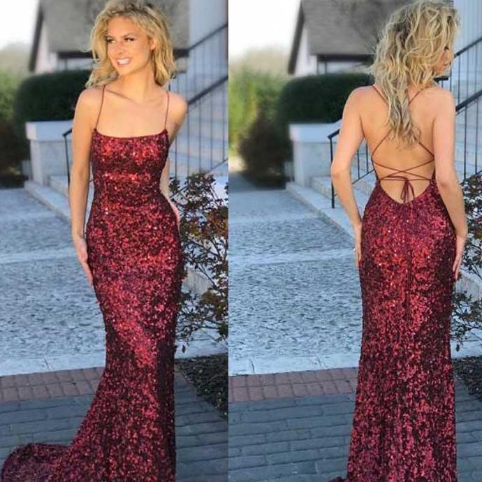 Spaghetti Sequin Mermaid Prom Dresses, Popular Prom Dresses