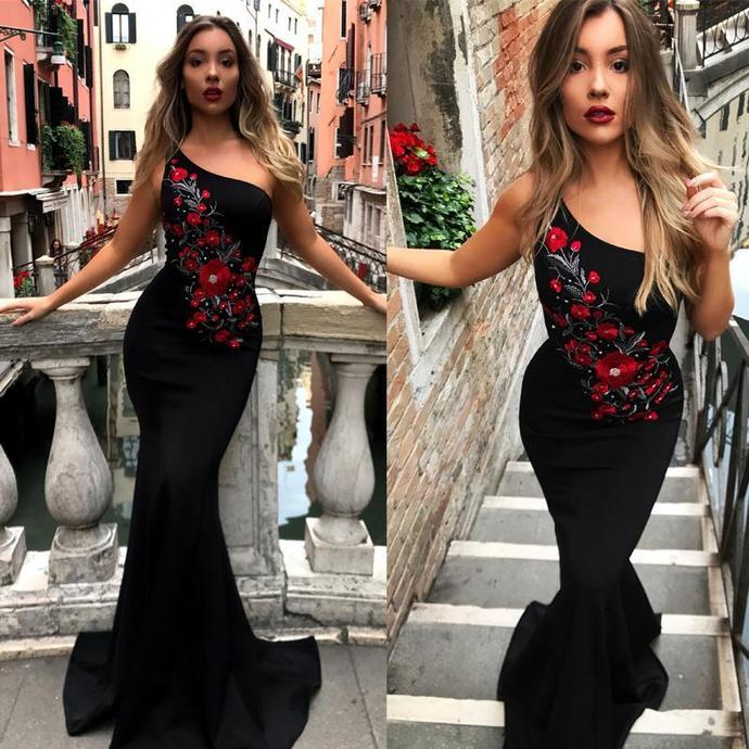 One Shoulder Mermaid Black Embroidery Pretty Long Prom Dresses, Cheap Prom
