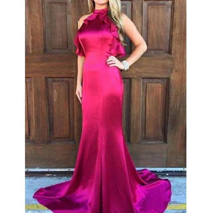 Ruffles Mermaid Prom Dresses, Open Back Prom Dresses, Long Prom Dresses, Cheap