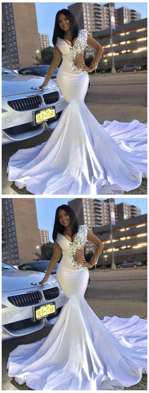 Trumpet/Mermaid White Prom Dress With Rhinestone Long Prom Dresses Evening Dress