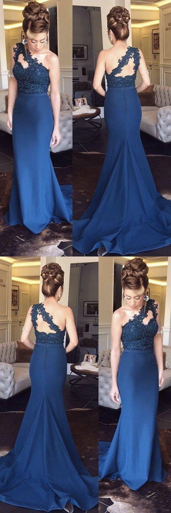 7ec5de691 Navy Blue Lace Mermaid Prom Dress – DACC