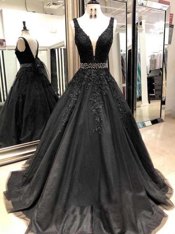 Black V-neck Lace Appliques A-line Prom Dresses, Beaded Prom Dresses