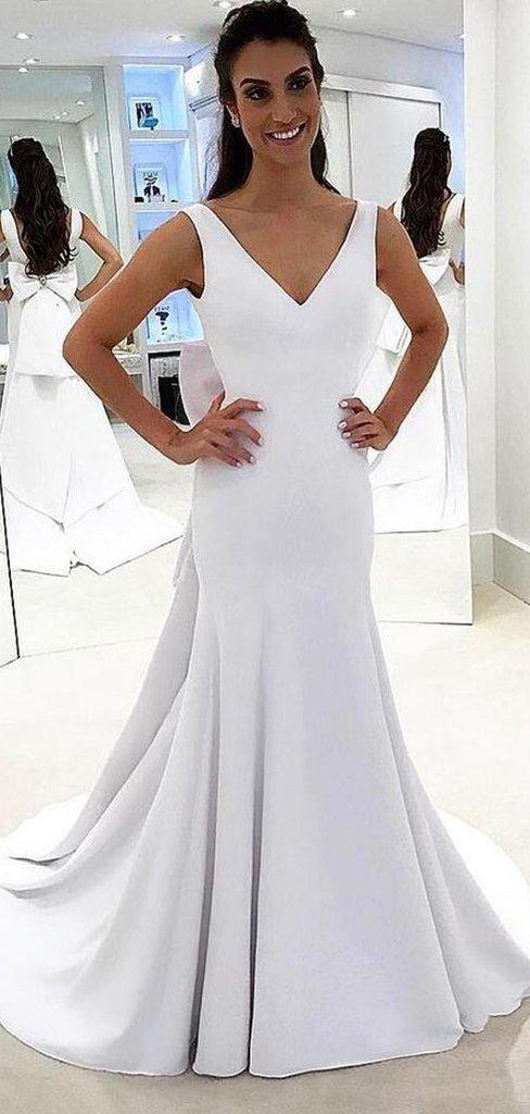 White V-neck Prom Dresses, Long Mermaid Prom Dresses, Cheap Prom Dresses