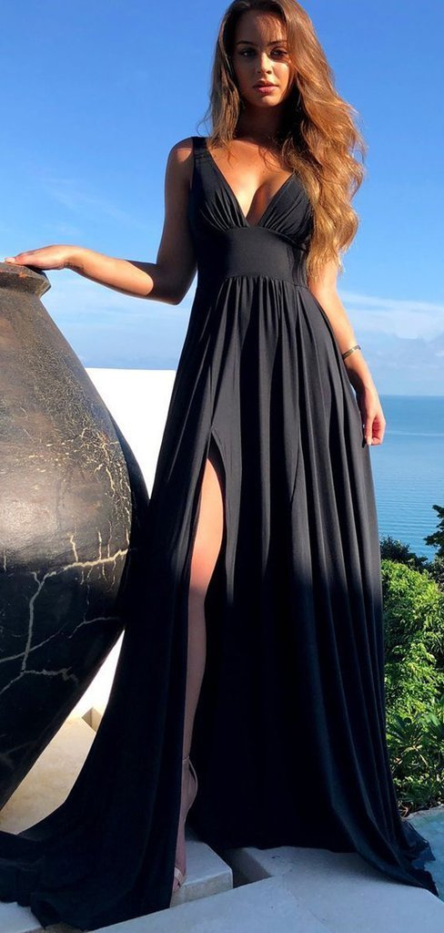 Black V Neck Long Side Slit Prom Dresses Jersey By Dress On Zibbet