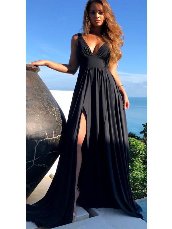 Black V-neck Long Side Slit Prom Dresses, Jersey Prom Dresses, Cheap Prom
