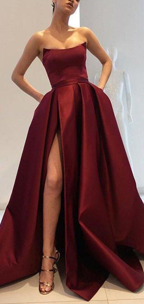 Strapless Long Side Slit Satin Prom Dresses, Cheap Prom Dresses, Long Prom