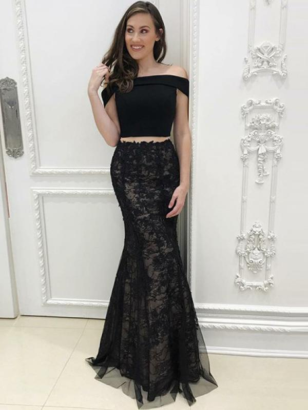 2 Pieces Black Prom Dresses, Lace Prom Dresses, Cheap Long Prom Dresses
