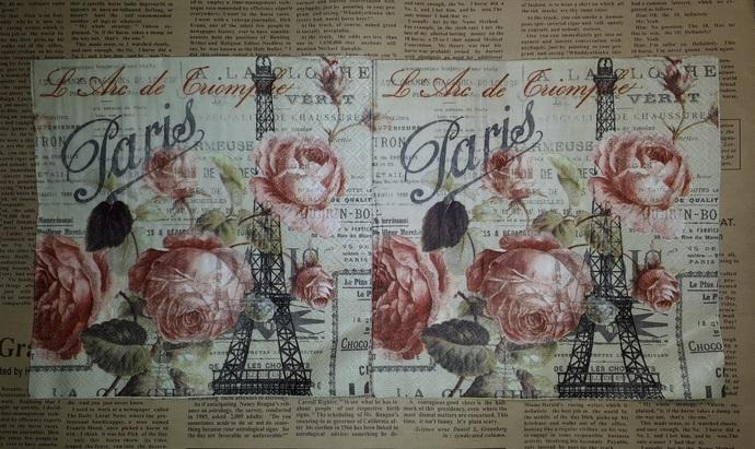 N127 Paper Napkins (Pack of 2) Paris Eifel Tower, Roses French Words