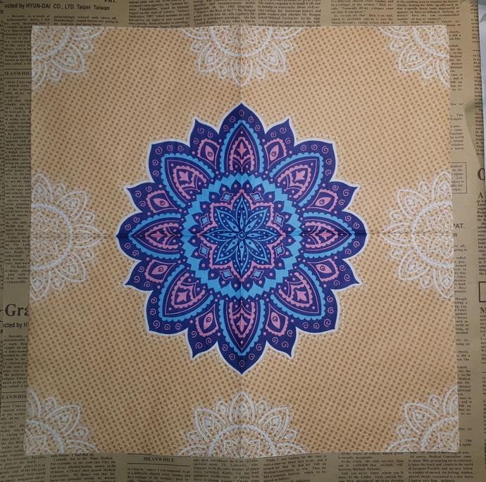 N129 Paper Napkins (Pack of 2) Orange, Blue Pink, White, Mandela Pattern