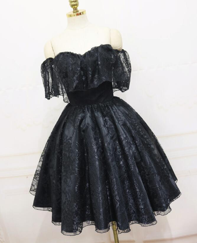 2c985b45de7 Black Lace Off Shoulder Knee Length Wedding by BeMyBridesmaid on