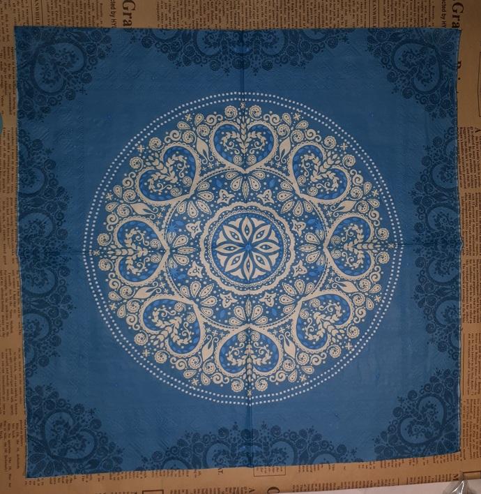 N134 Paper Napkins (Pack of 2) Blue, Dark Blue, Cream Mendela Circle Floral