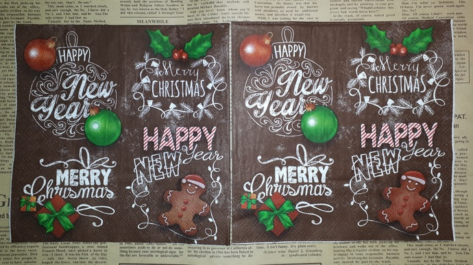 N135 Paper Napkins (Pack of 2) Christmas, Brown Gingerbreadman, Baubles, Holly,